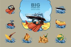 This pack includes 8 Beach Icons in Vector AI, EPS, PNG and PSD. Made in my personal unique cartoon vector style. Business Illustration, Pencil Illustration, All Icon, Icon Set, Banana Water, Beach Icon, Water Games, Game Ui, Creative Sketches