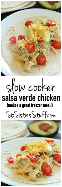 Slow Cooker Salsa Verde Chicken from SixSistersStuff.com