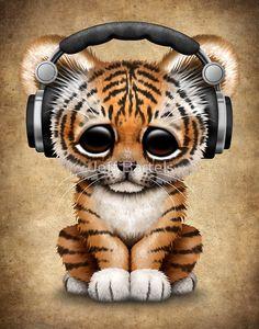 Cute Tiger Cub Dj Wearing Headphones | Jeff Bartels