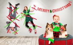 Awesome Christmas card. Toddler duct tapes parents to the wall. Funny card. www.delorenzophoto.com
