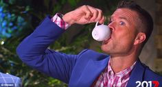 Pete Evans is seen drinking from a sauce bottle in MKR's latest ad