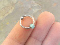 Sea Foam Green Beaded Cartilage Hoop Earring Boho Tragus Helix Piercing CBR on Etsy, $5.00