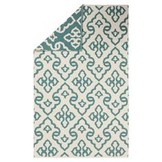 REVERSIBLE RUG!!!! Add a pop of pattern to your living room or den with this woven wool rug, showcasing a fleur-de-lis motif in alpine blue and ivory.    ...