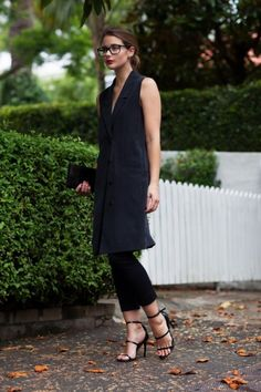 5 Summer 2015 Trends That You Will Still Be Wearing This Fall. Long black vest outfit. Image source: harperandharley.com