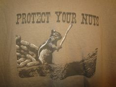 Protect Your Nuts Graphic T Shirt Squirrel with Stick  XXL Brown Funny Comic  #ShortSleeve