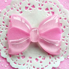 Bow Cabochon with Glitter BIG 60mm x 44mm Kawaii Big Cabochon Cell phone Deco (Light Pink). $1.50, via Etsy.