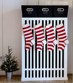 red and white striped knit stockings