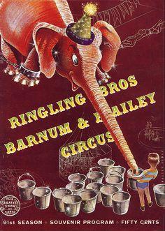 Vintage Retro Circus Poster ~ ☮~ღ~*~*✿⊱╮.  レ o √ 乇 !! ~ Elephant