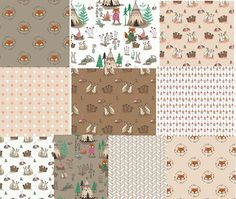 Etsy, MountainFabrics, Woodland Fabric Bundle, Modern Rustic Nursery Quilting Cotton, Camelot Wilderness, Fox, Teepees, Tee pees,  Bunny Rabbits Brown Earth Tones