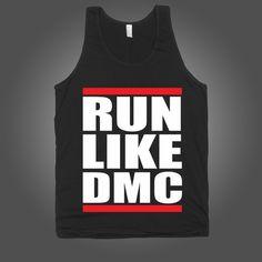 Run Like DMC on a Black Tank Top