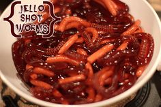 We made these jiggly jello shot worms for Halloween this year and they were the hit of the party! Delicious jello spiked with vodka, they will bring the gross factor and the good times to your part…