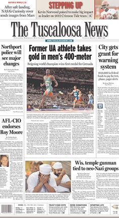 Hometown Heroes: The Tuscaloosa News features former University of Alabama athlete Kirani James, who represented Grenada in his gold-medal performance in the men's 400-meter.