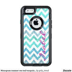 Monogram summer sea teal turquoise glitter chevron OtterBox iPhone 6/6s case