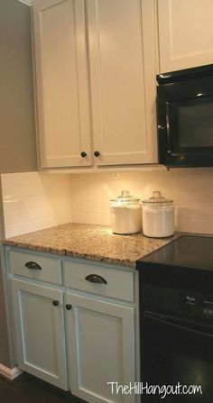 New kitchen backsplash brown cabinets black appliances Ideas Painting Kitchen Cabinets White, Kitchen Paint, Kitchen Redo, New Kitchen, Kitchen Ideas, Kitchen Backsplash, Granite Kitchen, Kitchen Outlets, Brown Granite Countertops