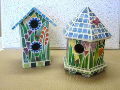 mosaic+birdhouses | Garden Series Mosaic Birdhouses