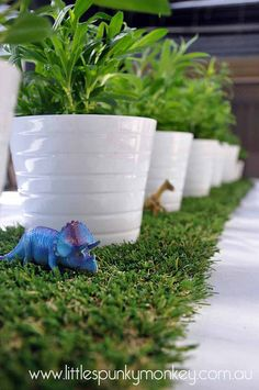 Dinosaur party green natural decorations