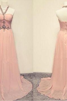 Halter Beading Backless Prom Dress Long Chiffon Evening Dress