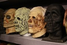 Original Don Post masks along with a prototype Skull vinyl pull  -The Crimson Ghost Mask Room 2015