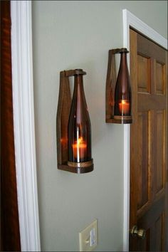 Wine bottle candles - Our sconces are truly unique and make a perfect gift for wine lovers Wine Bottle Candles, Bottle Lights, Wine Bottle Crafts, Wine Bottles, Bois Diy, Wood Lamps, Candle Wall Sconces, Wooden Art, Deco Design