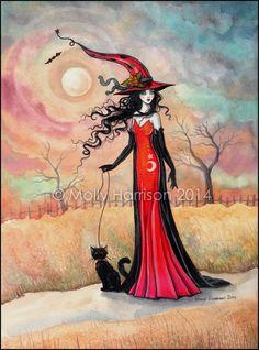 SALE  Autumn Stroll Fantasy Art Original Witch by MollyHarrisonArt