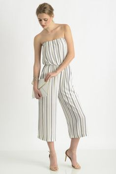 19 Cooper Striped Strapless Gaucho Jumpsuit in WHTM