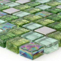 glas edelstahl mosaik fliesen grn mix - Schwarzweimosaikfliese Backsplash