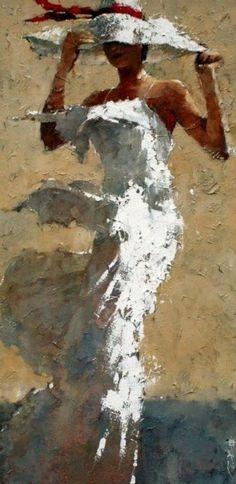 Artist - Andre Kohn tanned lady in a white dress