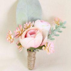 Blaire Peony Silk Flower Wedding Corsage & Boutonniere