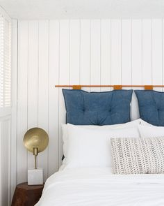 @sarahshermansamuel has done it again with our No.08 lumbar pillow and this chic DIY headboard!