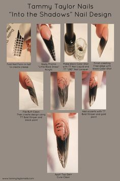 "Tammy Taylor Nails ""Into the Shadows"" Nail Design Tutorial. I have never used Tammy Taylor. How To Do Nails, Fun Nails, Tammy Taylor Nails, The Art Of Nails, Beauty Hacks Nails, Nail Techniques, Edge Nails, Nail Forms, Halloween Nail Art"