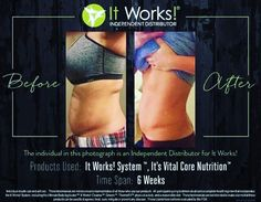 I love when Distributors show off their own personal results.  We love the products too  and enjoy sharing our own journeys.  This fellow business partner took the 90 day challenge and used the It Works! System to wrap, remove, and reboot her system; and also the It's Vital Core Nutrition multivitamin.  Look at her results in only 24 days! #flawless ....♥️ if you think these results are amazing and you want to try these products to experience your own results .