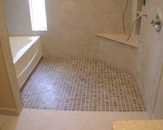 Accessible Showers | ... handicap accessible custom tile shower and tub with built in shelves