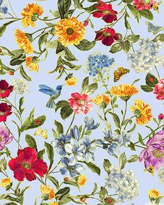 eQuilter Field of Dreams - Meadow Expressions -Sky Blue/Gold Graphic Wallpaper, Fabric Wallpaper, Flower Wallpaper, Botanical Prints, Floral Prints, Textile Patterns, Print Patterns, Hippie Art, Botanical Illustration