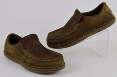 Merrell Moss Men's Shoes Size 10 Brown Leather Pinch Toe Slip On Loafers #Merrell #LoafersSlipOns