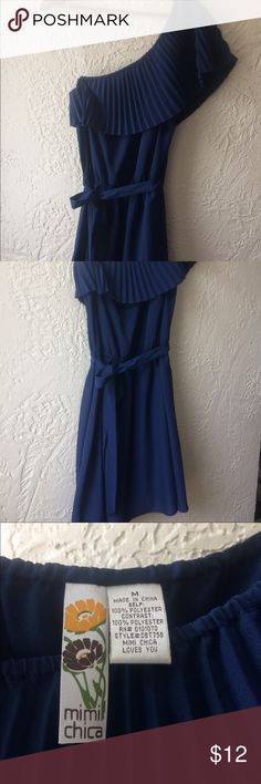 One shoulder, navy blue, ruffle dress One shoulder, casual navy blue dress. Great for garden party or cocktail party. Light fabric that won't stick in summer. Mimi Chica Dresses Mini