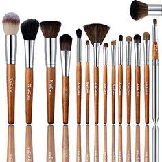 15 Pcs Professional Makeup Brushes Set Foundation Contour Blending Eyeshadow Concealer brush Blush Brush Leather Case -- Review more details here : Makeup Brushes