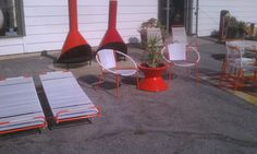 """We have hundreds of pieces of vintage midcentury patio furniture. Salterini, Brown and Jordan, Woodard, Richard Shultz, Knoll, Ames Aire, and much more. We can powder coat and re-strap or upholster almost anyway you like. We can also refurbish your pieces.   I did a few pieces of Aimes aire for the photos … enjoy    Call 626-676-9401  . ThankYou …. All Things Vintage Midcentury can be yours at .."""",  Foothill 5 Fifty  Digsmodern . mid century modern vintage"""