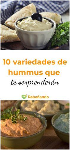 10 tipos de hummus que te sorprenderán #hummus #recetadehummus #garbanzos #recetascongarbanzos #chickpeas #hummuscasero #dips #picoteo #botanas Delicious Desserts, Yummy Food, Vegan Recipes, Cooking Recipes, Deli Food, Salty Foods, Food Goals, Other Recipes, I Love Food