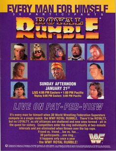 WWF / WWE Royal Rumble 1990 - Event poster for my husband a huge fan of this Wwf Poster, Posters, Greg Valentine, Attitude Era, Wwe Ppv, Wwe Royal Rumble, Andre The Giant, Wwe Pay Per View, Lucha Libre