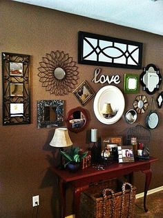 Entry way mirror wall- no excuses for lipstick on your teeth.