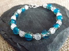 "Aqua & White Glass Beaded Bracelet ""BC63"" £6.00"