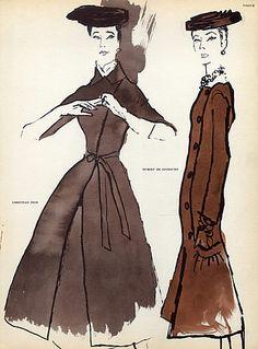 René Bouché 1955 P1 Christian Dior, Hubert de Givenchy, Fashion Illustration