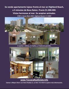 Se vende apartamento con vistas al mar cerca de Boca Raton, FL. www.ToscanaRealEstate.info