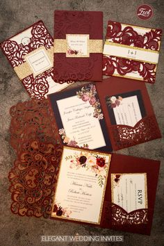You desire a wedding event invitation to match the total style and mood of the wedding event. Is your wedding event formal or casual? A formal wedding might need classic script typefaces, official phrasing, and the traditional double envelope. Quince Invitations, Burgundy Wedding Invitations, Laser Cut Wedding Invitations, Wedding Invitation Cards, Wedding Stationery, Wedding Cards, Magical Wedding, Fall Wedding, Diy Wedding