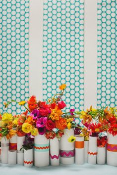 bright colors + white vases