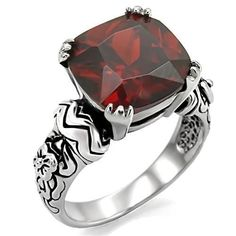 Women's Stainless Steel Square Cushion Garnet Red Cz Cocktail Goth Emo Ring