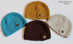 Womens Fall & Winter Crochet Hat Beanie Featured in mustard, linen, aqua and chocolate brown.