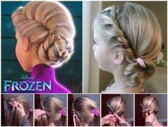 Wonderful DIY Disney Frozen Coronation Hairstyle Do your girls love Frozen? Many of us have been drooling over Elsas famous coronation hair ever since we saw Disneys Frozen Its a classy twist that is Girls School Hairstyles, Little Girl Hairstyles, Cute Hairstyles, Wedding Hairstyles, Frozen Hairstyles, Disney Hairstyles, Latest Hairstyles, Disney Princess Hairstyles, Girls Hairdos