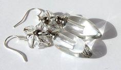 """Boucles d'oreilles en verre en forme de goutte """"Les gouttes cristallines"""""""