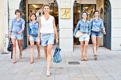 Destination wedding with Bride & Maids in denim shorts - Image by Rock Your Love Photograpy - Rime Arodaky for an Indian Muslim Catholic fusion wedding in France at Château de Rochegude